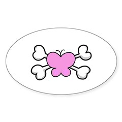 Cute Butterfly & Crossbones Design Oval Decal