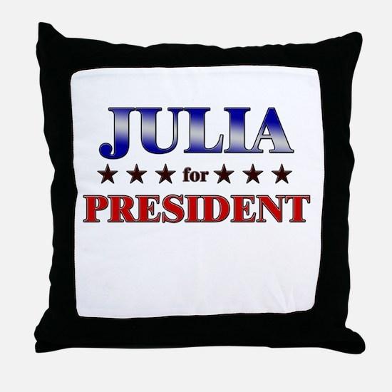 JULIA for president Throw Pillow