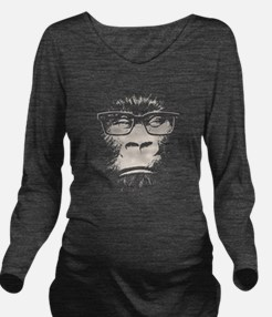 Cute Chimp Long Sleeve Maternity T-Shirt
