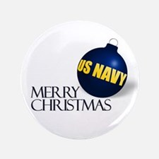"""Merry US Navy Christmas 3.5"""" Button"""