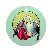 Elegant Stork with Baby Ornament (Round)
