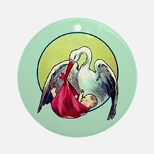 Elegant Stork with Baby Ornament (Round)