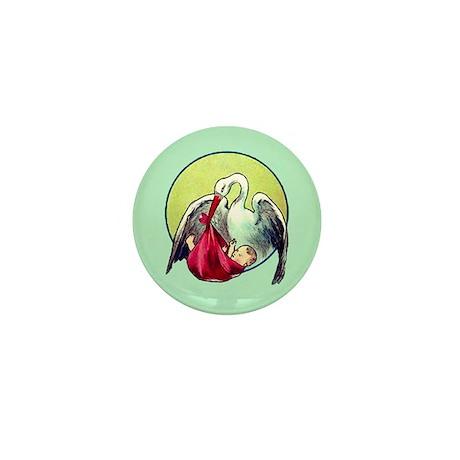 Elegant Stork with Baby Mini Button
