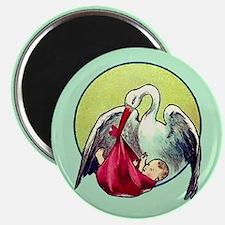Elegant Stork with Baby Magnet