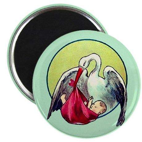 "Elegant Stork with Baby 2.25"" Magnet (100 pack)"