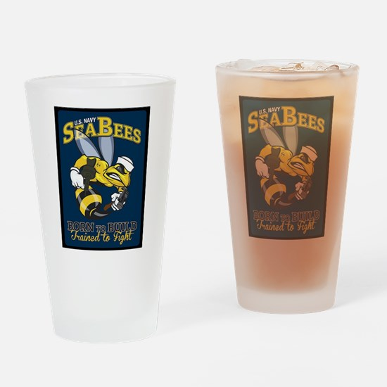 SEABEES Born To Build Drinking Glass