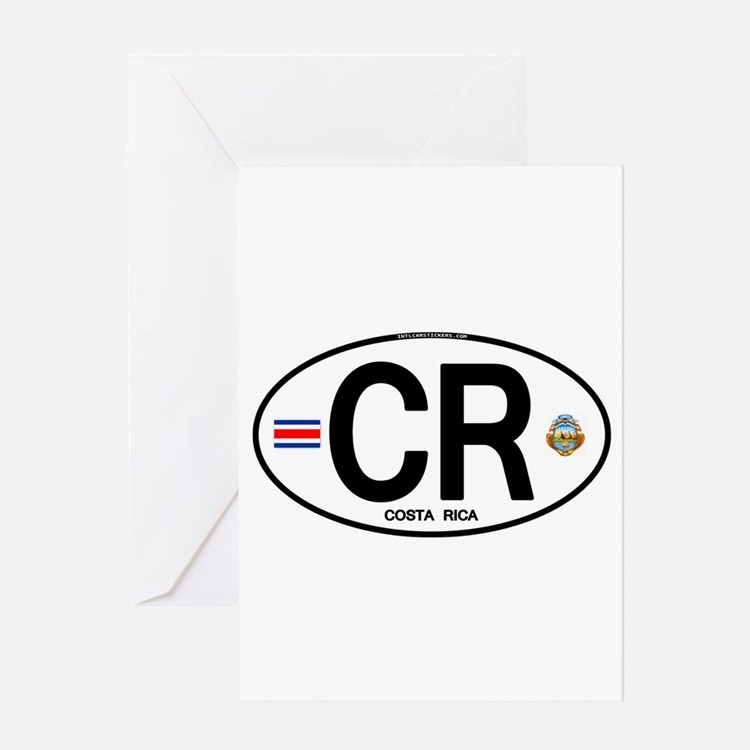 Costa Rica Euro Oval Greeting Card