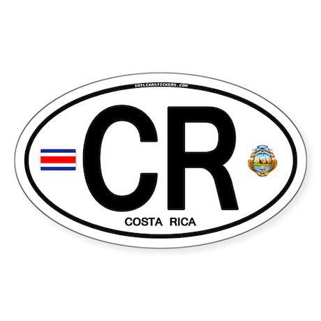 Costa Rica Euro Oval Oval Sticker