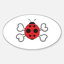 Cute Ladybug & Crossbones Oval Decal