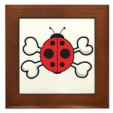 Cute Ladybug & Crossbones Framed Tile