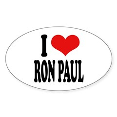 I Love Ron Paul Oval Decal