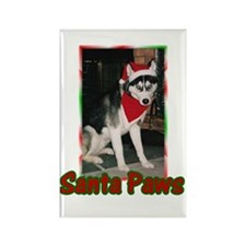Siberian Husky Santa Paws Rectangle Magnet