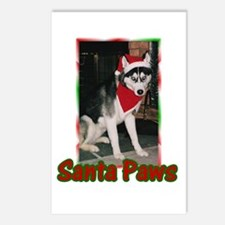 Siberian Husky Santa Paws Postcards (Package of 8)