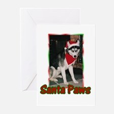 Siberian Husky Santa Paws Greeting Cards (Package