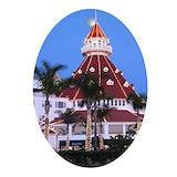 Hotel del coronado christmas Oval Ornaments