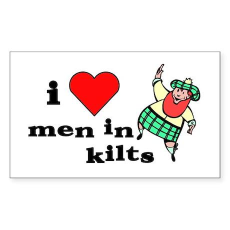 I heart men in kilts Rectangle Sticker