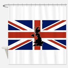 UK Silhouette and Flag Shower Curtain
