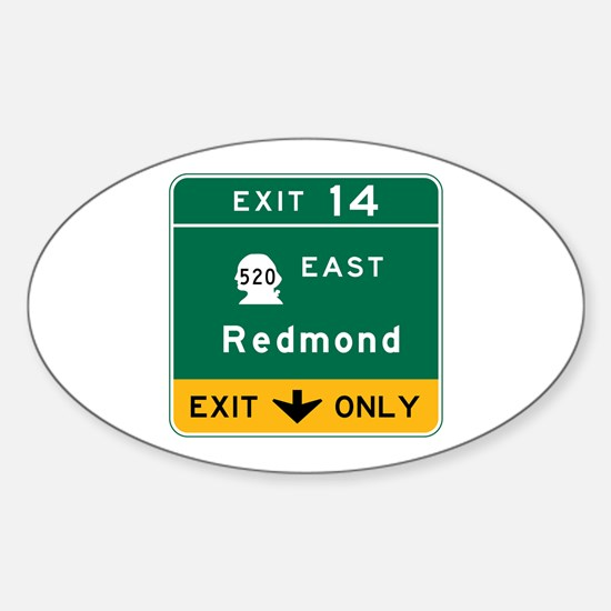 Redmond, WA Road Sign Sticker (Oval)
