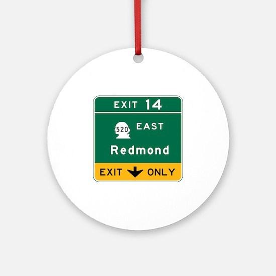Redmond, WA Road Sign Round Ornament