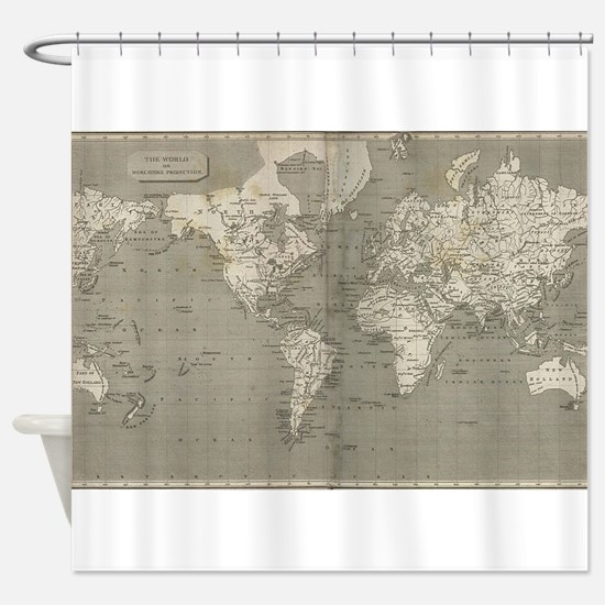 Vintage Map of the World (1820) 2 Shower Curtain