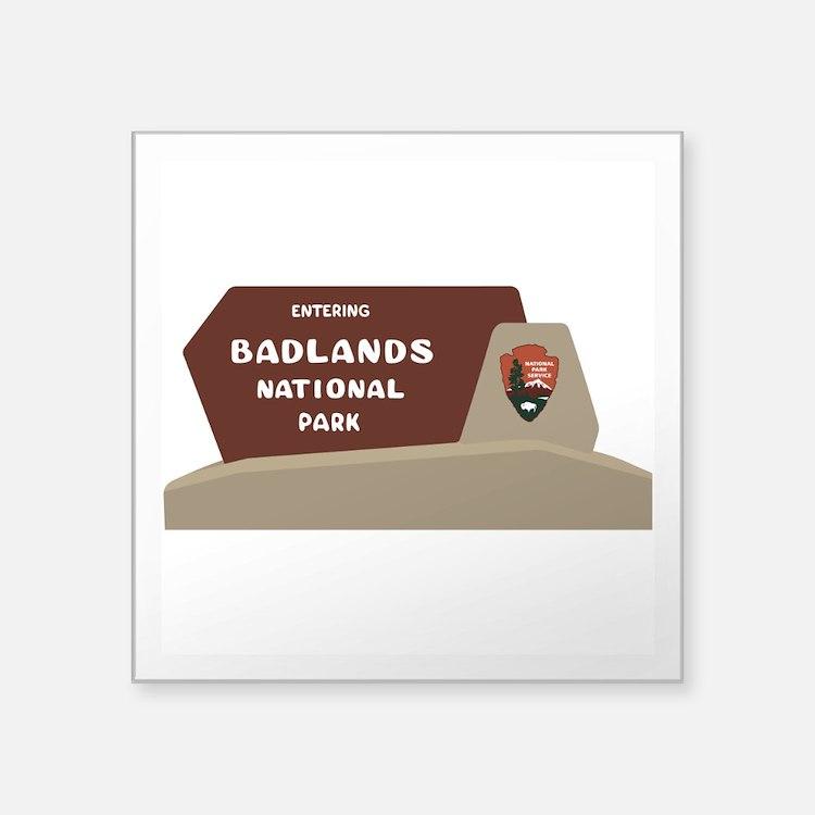 """Badlands National Park, Sou Square Sticker 3"""" x 3"""""""