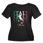 Italian pride Women's Plus Size Scoop Neck Dark T-