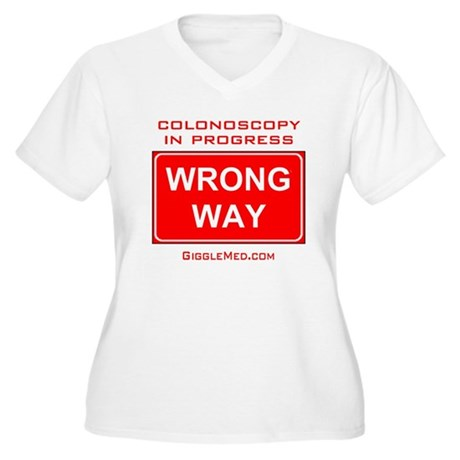Colonoscopy Wrong Way Women's Plus Size V-Neck T-S