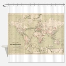 Vintage Map of The World (1898) Shower Curtain