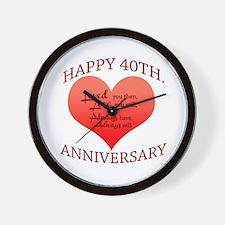 Happy 40th. Anniversary Wall Clock