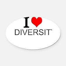 I Love Diversity Oval Car Magnet