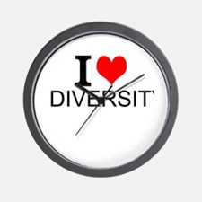 I Love Diversity Wall Clock