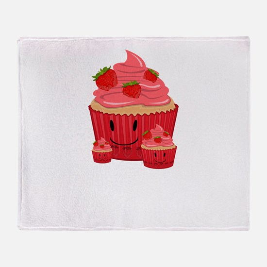 Strawberry Cupcake Family Throw Blanket