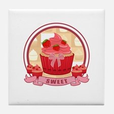 Sweet Strawberry Cupcake Tile Coaster