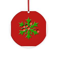 Pretty Holly Christmas Ornament (Round)