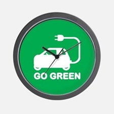 Go Green ~ Drive Electric Cars Wall Clock