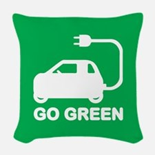Go Green ~ Drive Electric Cars Woven Throw Pillow