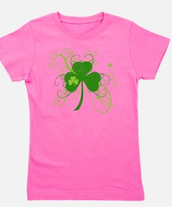 St Paddys Day Fancy Shamrock Girl's Tee