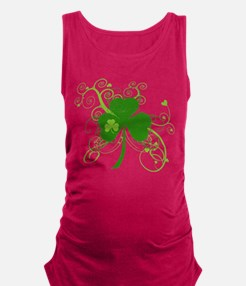 St Paddys Day Fancy Shamrock Maternity Tank Top