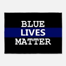 Blue Lives Matter Blue Stripe 5'x7'Area Rug