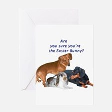 are you the Easter Bunny Dogs Greeting Card