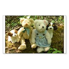 Spring Teddy Quartet Rectangle Decal