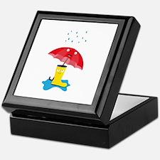 Raincloud, rubber boots and umbrella Keepsake Box