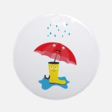 Raincloud, rubber boots and umbrell Round Ornament