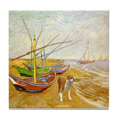 Van Gogh's fishing boats w/boxer Tile Coaster