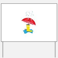 Raincloud, rubber boots and umbrella Yard Sign