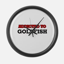 Addicted to Goldfish Large Wall Clock