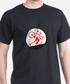 Cyclocross Athlete Running Uphill Circle T-Shirt
