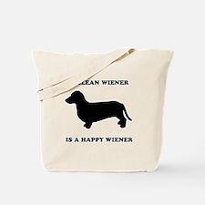 A clean wiener is a happy wiener Tote Bag