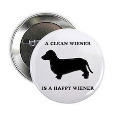 """A clean wiener is a happy wiener 2.25"""" Button"""