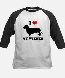 I love my wiener Kids Baseball Jersey